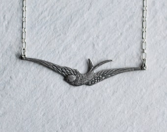 Silver Bird Necklace ... Swallow Pendant