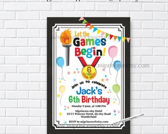 Olympics party invitation, sports birthday party, let the games begin, for any age, 1st 2nd 3rd, 4th 5th 6th 7th 8th 9th 10th card 967