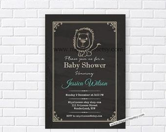 lion Baby Shower Invitation, Vintage rustic lion party, chalkboard Retro baby shower invitation baby boy Shower Design - card 131
