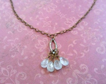 Pale Faceted Aquamarine Gemstone Briolettes on a Gold-Plated Brass Link Chain Necklace