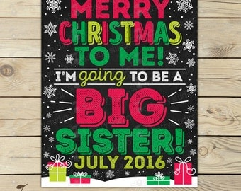 Christmas Big Sister Announcement Chalkboard Sign Printable - Christmas Baby Announcement Sign - Pregnancy Reveal - Were Expecting - Winter