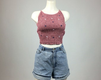 90's Country Girl Gingham Rouched Cotton Festival Daisy Floral Crop Top // S - M