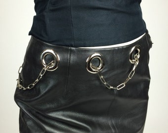 90's Grommet Chain Belt Vintage Black Leather Mini Skirt // S - M // 4