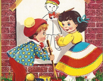 Pretty Pictures Vintage Coloring Book, C1969