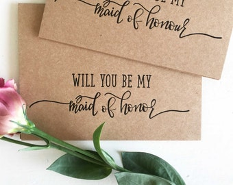 Maid of Honour Proposal Card - Will You Be My Maid of Honor Card - Wedding Party Proposal Card - Maid of Honour - Rustic Wedding Card