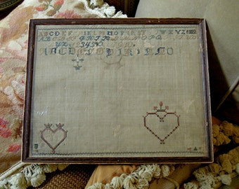 Antique 1880's Linen Sampler / Cross Stitch Sampler / Hearts / Alphabet / Embroidery / Antique Wood Frame