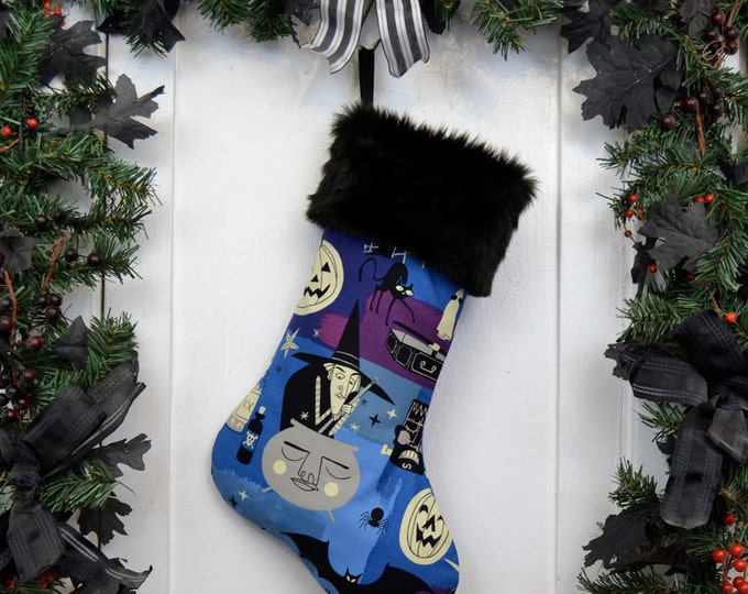 Goth Punk Animated Halloween Characters Christmas Stocking