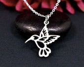 Hummingbird Necklace, Sterling Silver, Hummingbird Jewelry, Hummingbird Charm Necklace, Hummingbird Gifts, For Women, Hummingbird in Flight