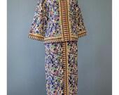 Vintage Dashiki Dress - African Dress - 60s Maxi Dress - Blouse Skirt Set - Tribal Print Hippie Dress - 1960s Bohemian Dress - Tribal Dress
