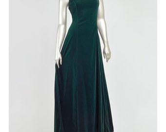 25% OFF - Green Velvet Dress 80s Party Dress Prom Long Formal Dress Scott McClintock Evening Gown Rhinestone Detail Full Skirt Velvet Gown