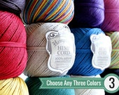 Hemp Cord, Any 3 Colors, 1mm Hemp Twine, Macrame Cord, Craft Cord