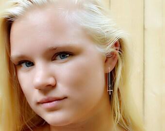Cross threader earrings - ear threader earrings - chain earrings - 90s jewelry - silver threaded earrings - silver ear threader