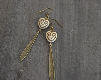Boucles d'oreilles - Vintage love - Bohemian jewelry inspired - Vintage heart - Gypsy earrings - Coco Matcha - Nature jewelry