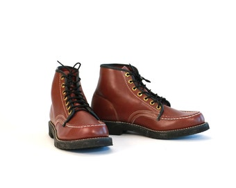 Vintage Vtg Vg 1960's 60's Herman Shoes and Boots Maroon Brown Leather Lace Up Work Boots Men's Size 9 Retro Hipster Women's 10 11