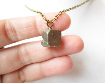 Raw Pyrite Cube Minimalist Boho Style Necklace