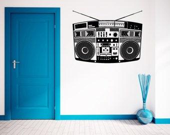 Boombox- Retro Stereo-  Vinyl Wall Decal