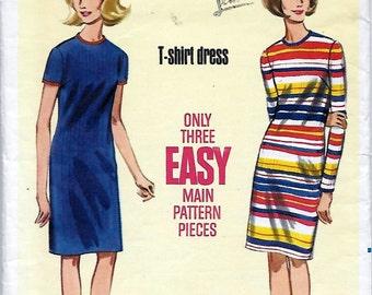 Butterick 4258 Women's 60s T-Shirt Dress Sewing Pattern Bust 34