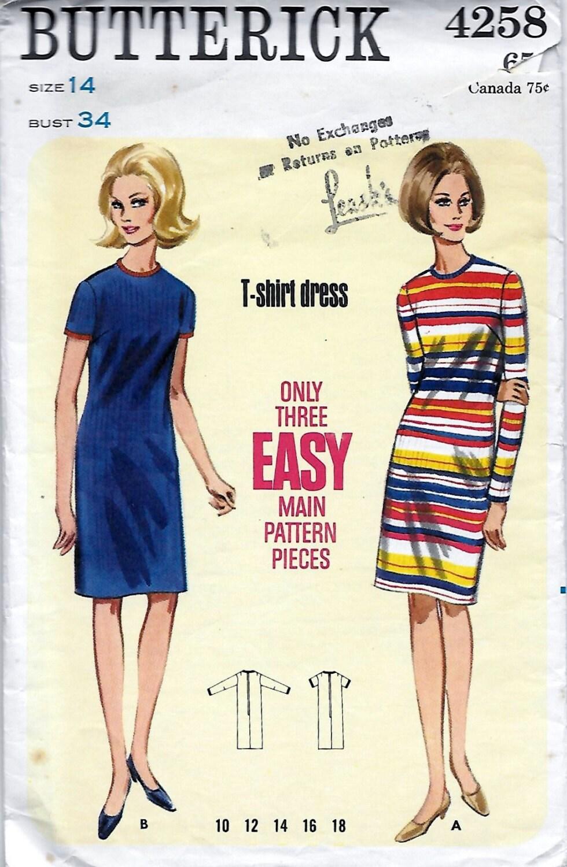 Butterick 4258 Women's 60s T-Shirt Dress Sewing Pattern