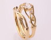 Celtic Wedding Set, 14K Gold and Diamond Bridal Set, Bridal Set, Unique engagement ring, Knot wedding set, celtic ring, knot ring, 9