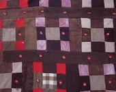 Vintage Mennonite Wool Quilt - Nine-Patch Squares - Textile Folk Art - Red Brown Gray Black Khaki
