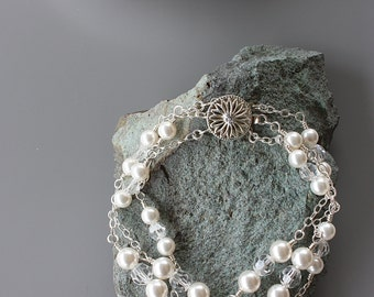 PEARL CRYSTAL BRACELET Bridal Triple Strand on Sterling Chain with Swarovski Crystals and Pearls White or Cream Pearl, Wedding Bracelet