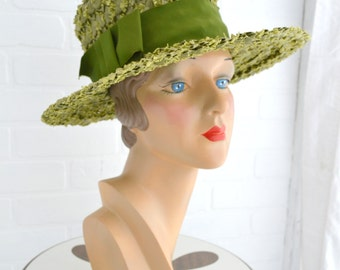 1960s Olive Green Straw Hat