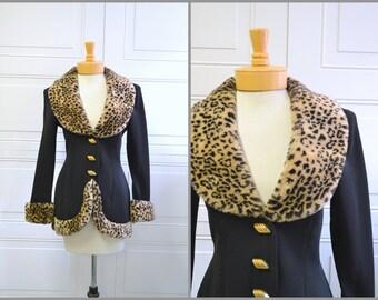 1990s Cache Leopard Faux Fur Jacket