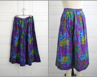 1970s Purple Cotton Print Culottes