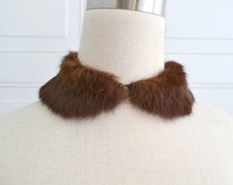 1950s Brown Fur Peter Pan Collar