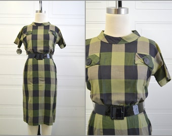 1950s Gilden Juniors Green Windowpane Plaid Dress