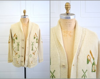 1970s Heavy Cream Cardigan with Anchor and Lantern