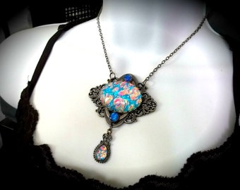 Color-Shift Turquoise and Orange Glass Opal Edwardian Heart Filigree Necklace