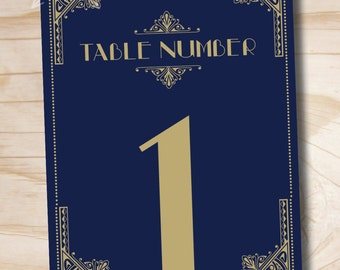 ART DECO GATSBY Table Numbers Navy and Gold - 5x7 Numbers 1- 20 - Instant Download
