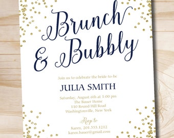 Brunch and Bubbly Bridal Navy and Gold Shower Invitation, Confetti Glitter Bridal Shower - Printable digital file or printed invitations