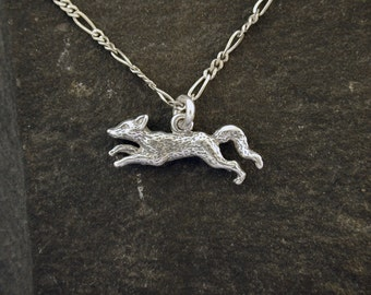 Sterling Silver Running Fox Pendant on a Sterling Silver Chain.
