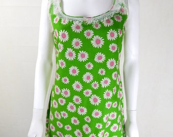 Original Vintage 1960s Green Daisy Mini Dress UK Size 8/10