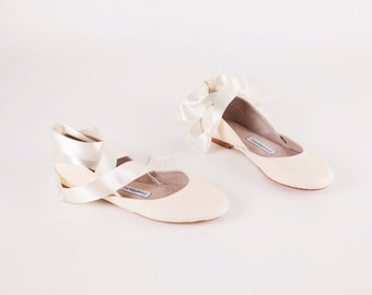 Bridal Ballet Flats | Ballerina Style Wedding Shoes | Pointe Shoes | Ivory with Satin Ribbons...Made to Order
