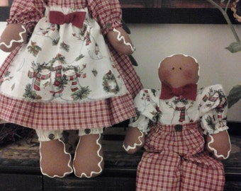 Handmade Christmas Ginger Bread Fabric Dolls, Can Be Ordered Separately