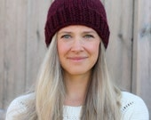 Belle Beanie Woman's Knitted Hat with Pom Pom in Claret Red- More colors available