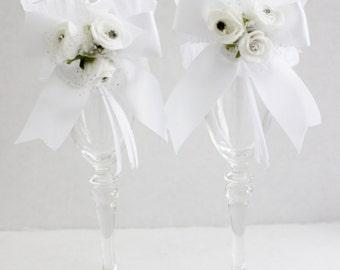 Toasting Glass Decor Wedding Set Sleeves White / Anniversary / Birthday  for Champagne Flutes
