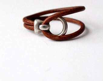 vintage leather and silver cuff, wrap around bracelet