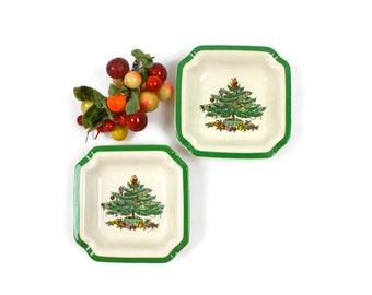 pair of spode christmas tree bowls holiday nut bowl candy bowl christmas decor