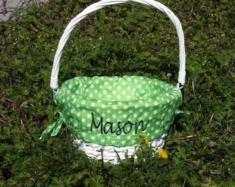 Personalized Green Easter Basket - Wicker Easter Basket - Green Polka Dot