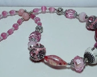 Pink, White and Silver Lampwork Necklace