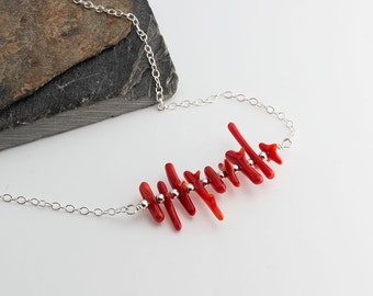Red Coral Bar Silver Necklace, Red Coral Stone Coral Necklace Silver Necklace Line Necklace Carrie Necklace Dainty Necklace Gifts