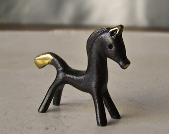 Vintage Bosse Black Horse Statue Miniature Horse Lover Collectible Figurine Vintage 1980s