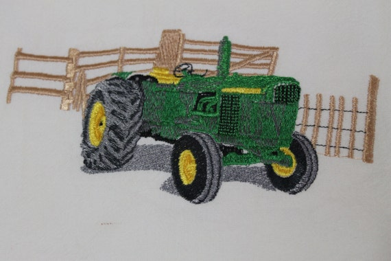 Embroidery Of Tractors : Jd tractor machine embroidery floursack towel