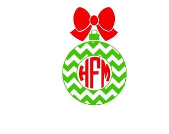 Chevron Christmas Ornament Monogram SVG or Silhouette Instant Download
