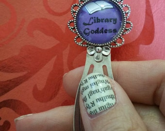 Library Goddess Antique Silver Bookmark / Paperclip = Great gift for a reader, librarian, teacher or you!