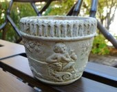 Small Clay Flower Pot. Cherubs, Trees. Vintage 1920s. Made in Japan. Planter, Jardiniere. Cottage, Shabby Chic, Garden Decor.